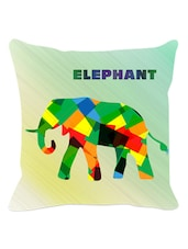 Multicolored Graphic Elephant Cushion Cover - Leaf Designs