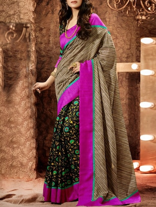 multi colored bhagalpuri silk saree