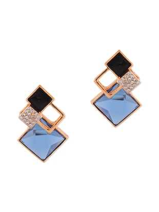blue metal alloy earring