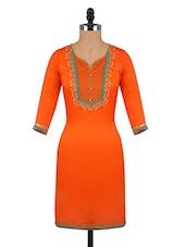 Quarter Sleeves Funnel Neck Orange Kurta - Aaboli