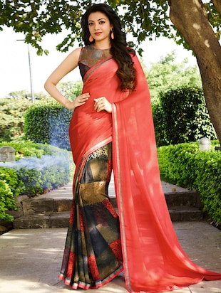multi georgette saree with blouse