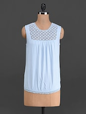 Sky Blue Top With Cotton Lace Yoke - French Creations