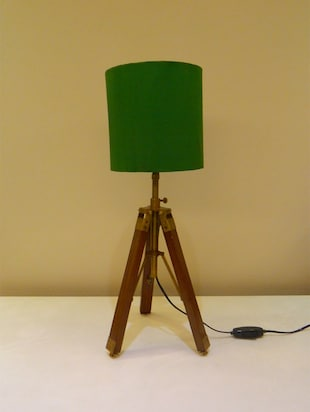 TRIPOD TABLE LAMP IN MANGO WOOD WITH FABRIC SHADE - 11106795 - Standard Image - 2