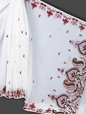 White Embroidered Art Silk Saree - Prabha Creations