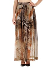 Knife Pleated Printed Maxi Skirt - Fuziv