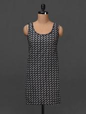Monochrome Floral Printed Sleeveless Dress - NUN