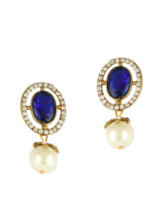 Sapphire blue stone with pearl drop earrings