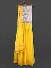 Yellow & White Embroidered Unstitched Suit - FABBOOM