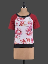 Floral Printed Round Neck Tee - Golden Couture