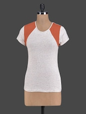 Cream & Rust Color Block Top - Golden Couture