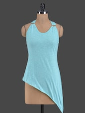 Teal Blue Sleeveless Asymmetric Top - Golden Couture