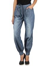 Blue Cotton Baggy Pants With Drawstrings - Change360°