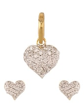 Cubic Zirconia Heart Shaped Pendant Set - Sixmeter Jewels