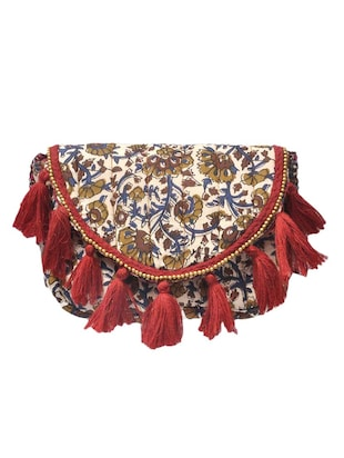 Multi printed tasselled sling bag