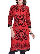 Red, Black Rayon Regular Kurta - By