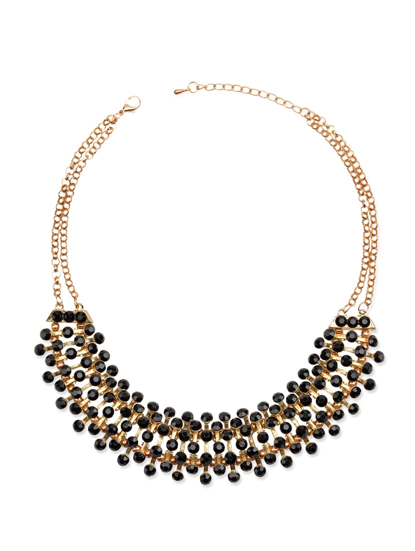 Black, Gold Metal Choker  Necklace - By