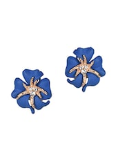 Blue Metallic Stone Earrings - By