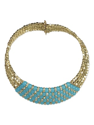 Blue and Gold Beads Choker Necklace