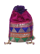 Multicolored Potli Bag With Mirror Work - By