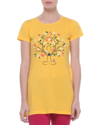 yellow cotton regular top