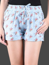 Sky Blue Floral Printed Shorts - Holidae