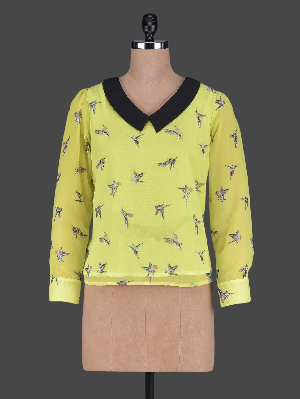 Contrasting Collar Bird Printed Long Sleeves Georgette Top - Holidae