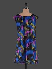 Boat Neck Digital Print Georgette Dress - Holidae