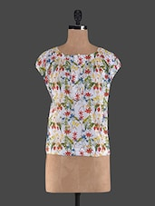 Boat Neck Floral Print Cotton Top - Holidae