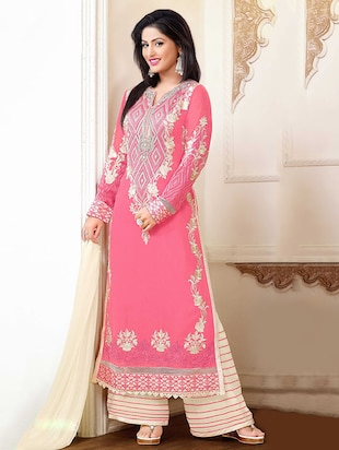 pink georgette embroidered semi stitched suit set