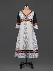 White-black Floral Cut & Sew Chanderi Kurta - PLUME