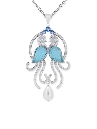 JOAL Blue 925 Sterling Silver Cubic Zirconia Pendant for women