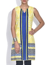 Yellow Printed Sleeveless Cotton Kurta - By