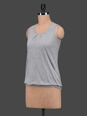 Grey Polka Dots Sleeveless Cotton Top - 27Ashwood