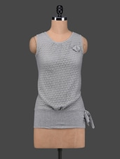Light Grey Cotton Lace Sleeveless Top - 27Ashwood