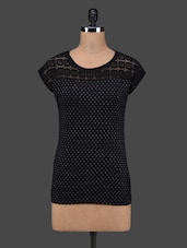Black  Polka Dots Lace Yoke Cotton Top - 27Ashwood