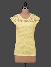 Yellow Polka Dots Lace Yoke Cotton Top - 27Ashwood