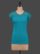 Sea Green Polka Dots Lace Yoke Cotton Top - 27Ashwood