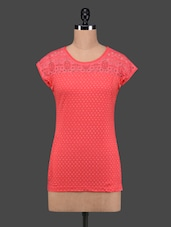 Coral Red Polka Dots Lace Yoke Cotton Top - 27Ashwood