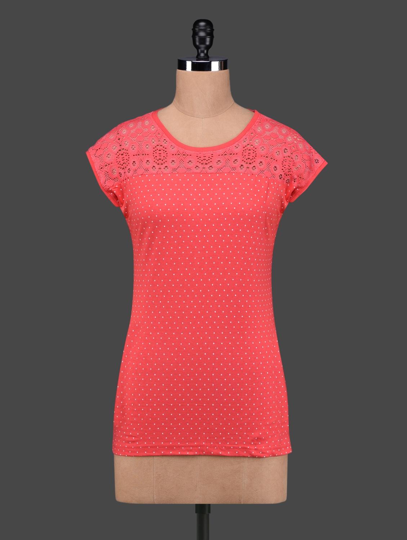 Coral Red Polka Dots Lace Yoke Cotton Top - 27Ashwood