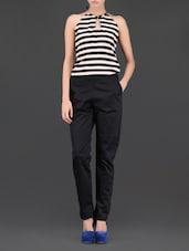 Striped Top Halter Neck Cotton Satin Jumpsuit - Miss Chase