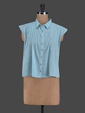 Blue Pleated Asymmetric Cotton Shirt - I AM FOR YOU
