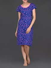 Short Sleeves Round Neck Stars Printed Cotton Dress - Nuteez