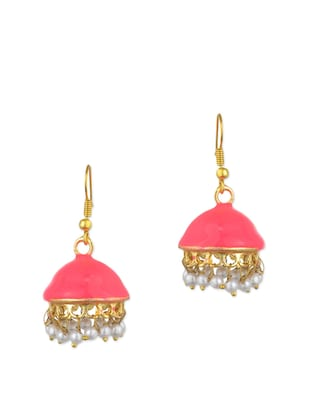 pink metal jhumka (set of 2) earrings