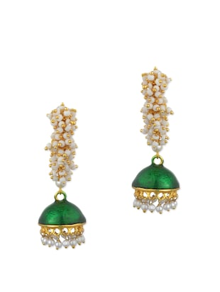 green metal drop earring