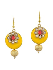 yellow metal alloy, pearl beads balli earring -  online shopping for earrings