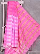 Pink Woven Check Saree - Komal Sarees