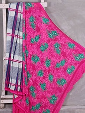 Floral & Checks Printed Crepe Saree - Komal Sarees
