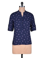 Navy Blue Printed Cotton Top - By