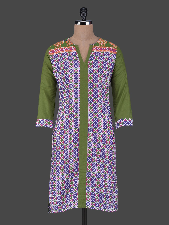 Quarter Sleeves Geometric Print Cotton Kurta - Aamii