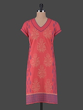 V Neck Short Sleeves Cotton Kurta - Aamii